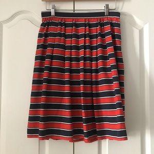 J. Crew Gondola Orange Blue Stripe Silk Skirt 6 S